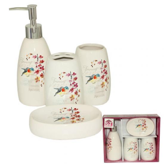 Набор аксессуаров для ванной комнаты 4 предмета Птичка Snt 888-06-009